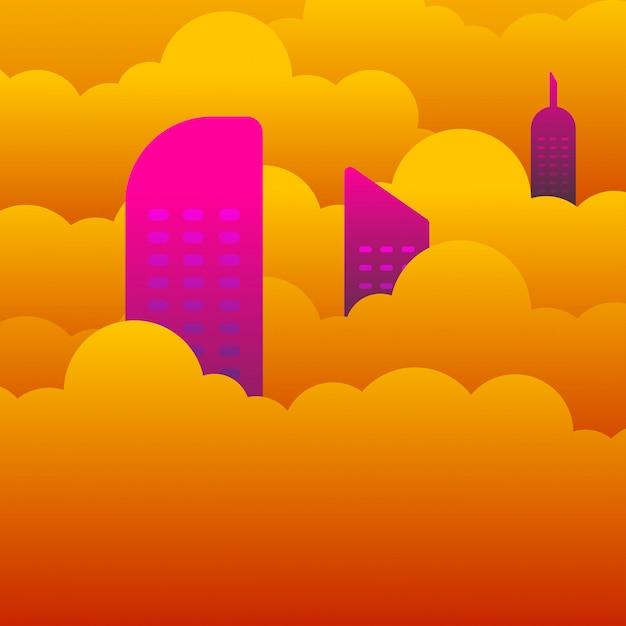 雲の上の建物の屋根の平らな風景 Premiumベクター