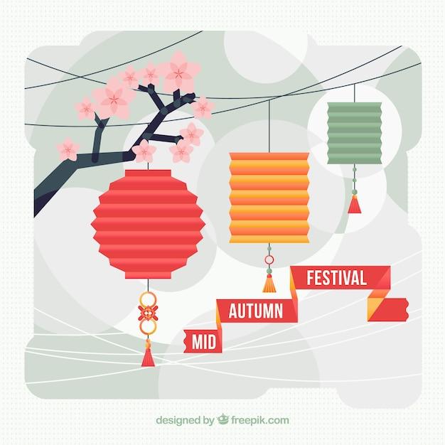 Flat Lanterns Mid Autumn Festival Background