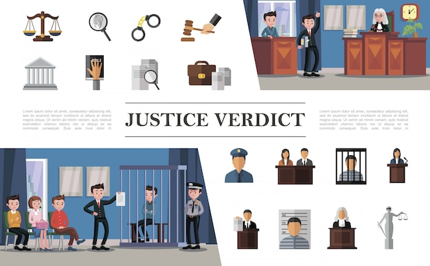 Flat law system composition with defendant lawyer jury judge police officer in courthouse and colorful justice icons Free Vector