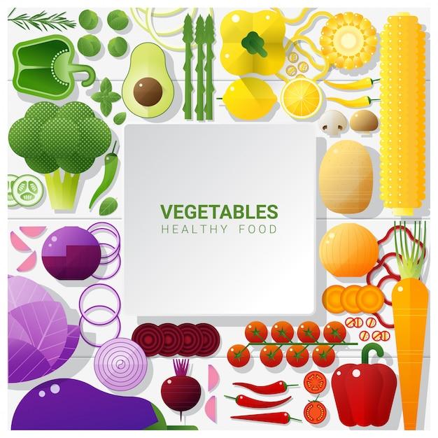 Плоские лежали свежие овощи на белом фоне стола, концепция здорового питания Premium векторы