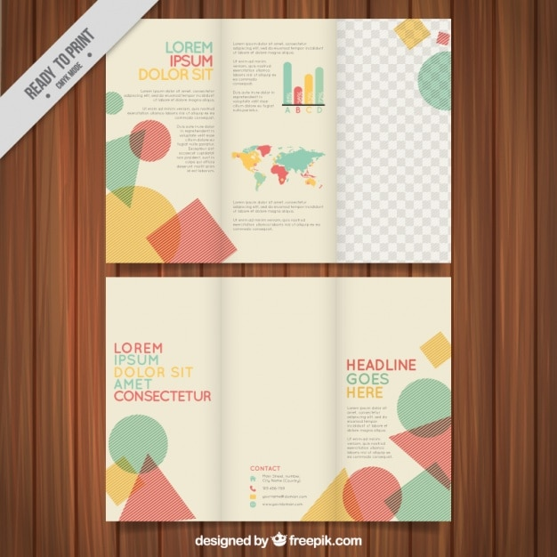 Flat leaflet template with colorful geometric figures Vector ...