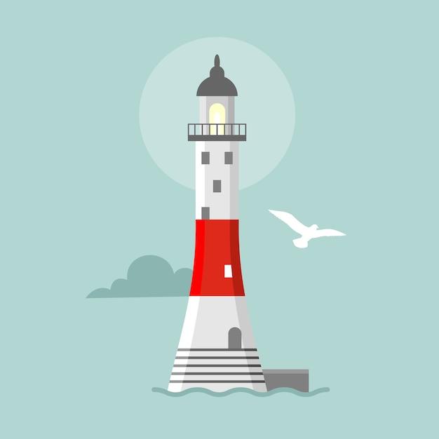 Плоский маяк. мультяшный пейзаж. прожекторные вышки для морского наведения Premium векторы