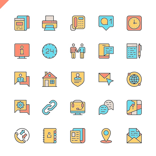 Flat line contact us icons set Premium Vector