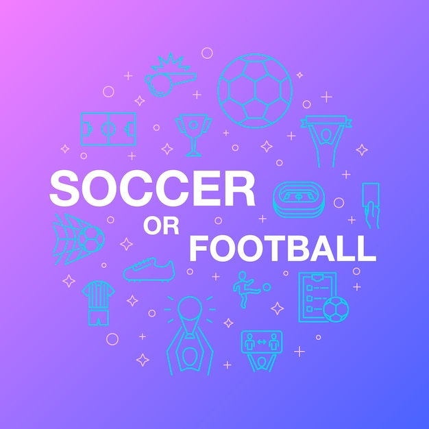 Flat line design of soccer or football icons. Premium Vector