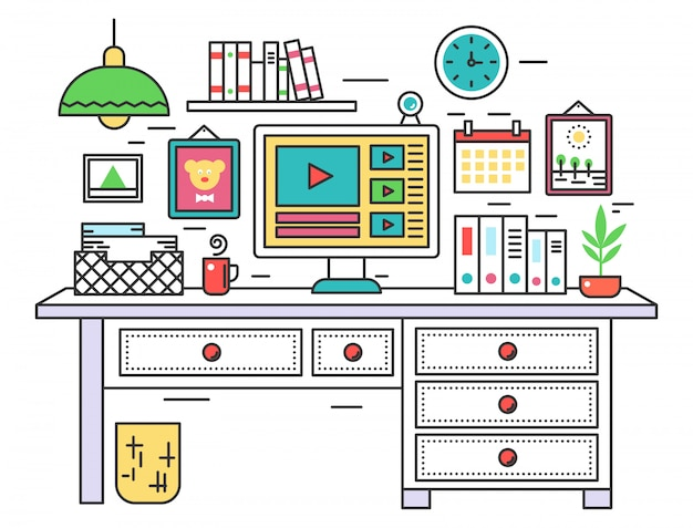 Flat line design workplace desk Premium Vector