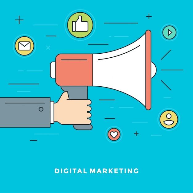 Flat line digital marketing concept illustration Premium Vector