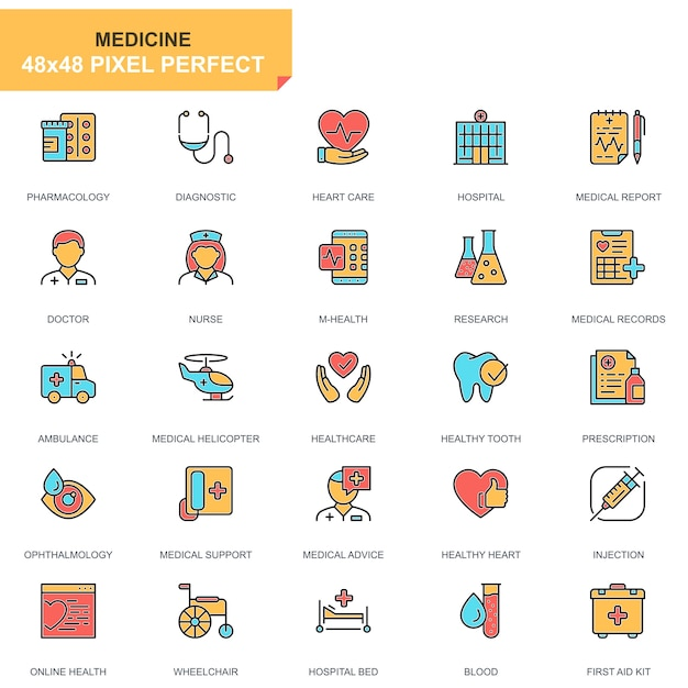 Flat line healthcare and medical icons set Premium Vector