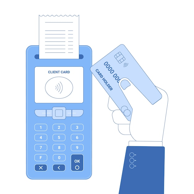 Flat line icon concept of wireless payment Premium Vector