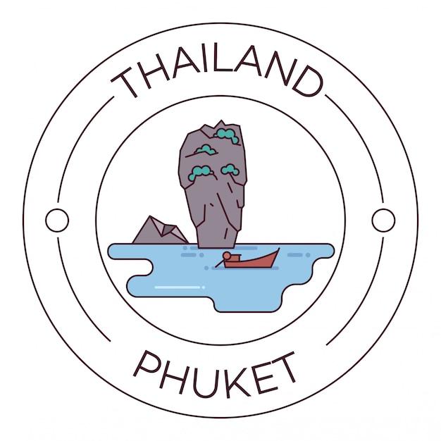 Достопримечательности таиланда пхукет flat line logo минималистский Premium векторы