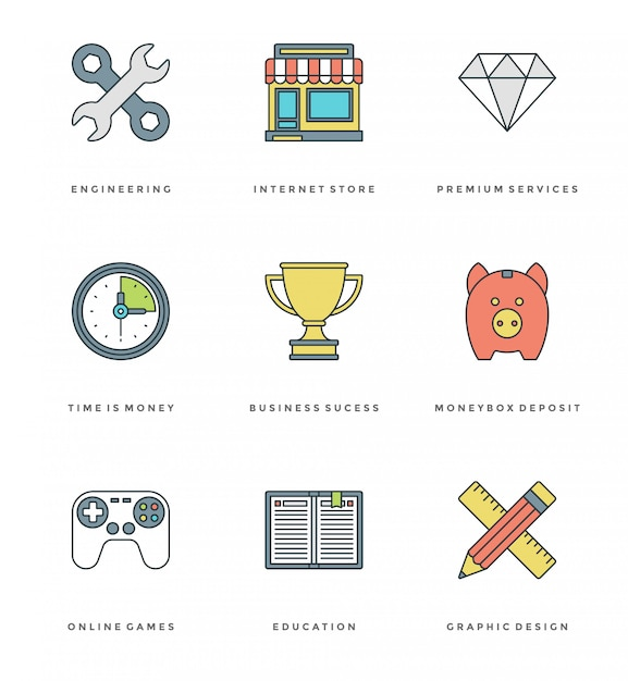 Flat line simple icons set. stroke vector essentials objects Premium Vector