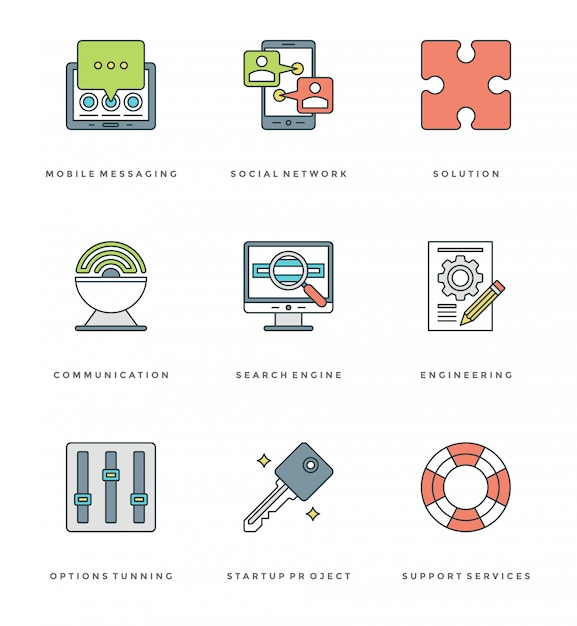 Flat line simple icons set. thin linear stroke essentials objects symbols Premium Vector