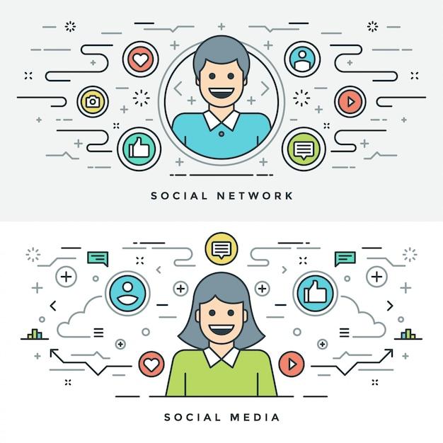 Flat line social media and network concept illustration Premium Vector