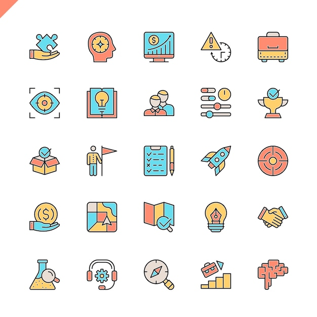 Flat line startup project and development elements icons set Premium Vector