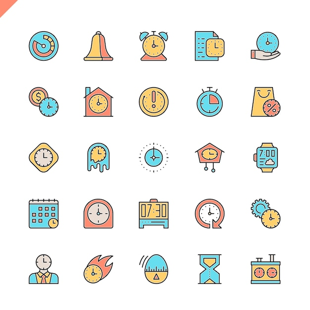 Flat line time icons set Premium Vector