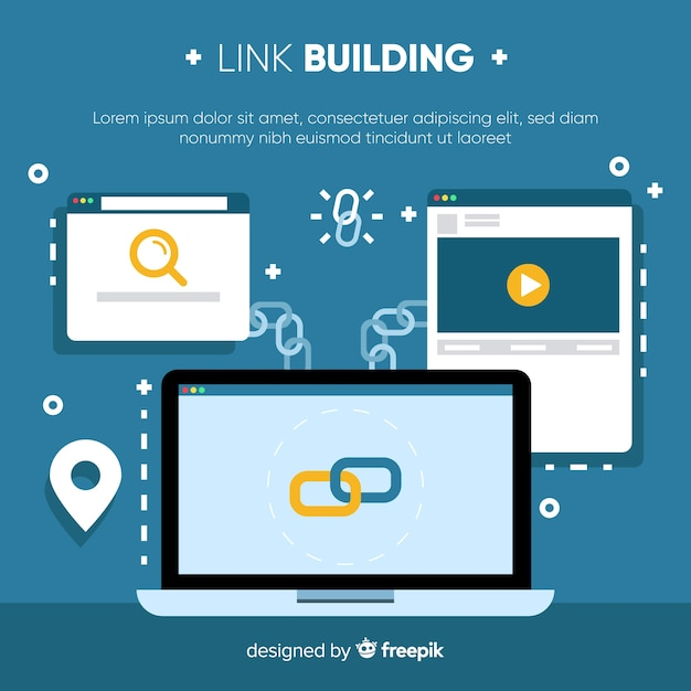 Flat link building background Free Vector