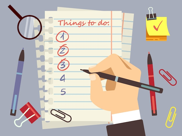 Flat to do list page and stationery Premium Vector
