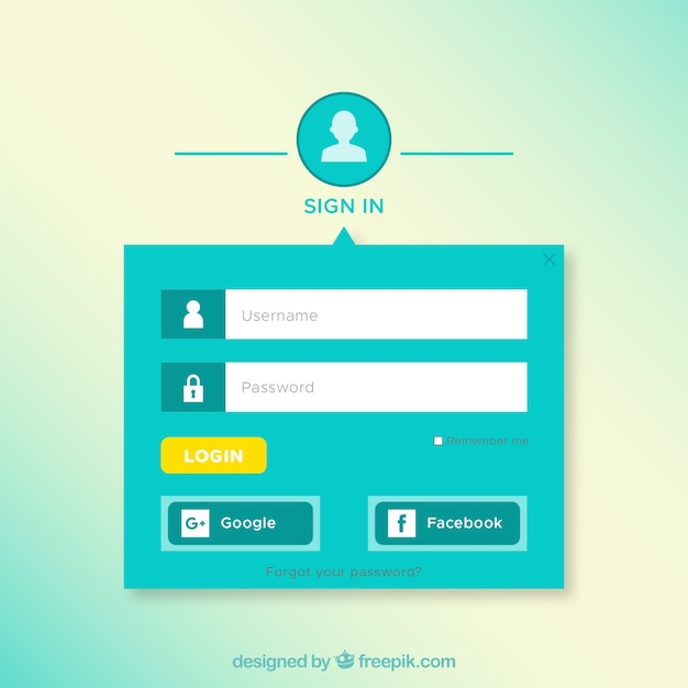 Login form with twitter and facebook buttons psd file   free download.