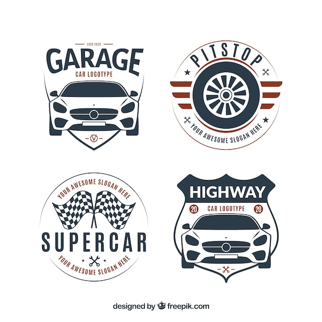 Flat logo car collection Free Vector