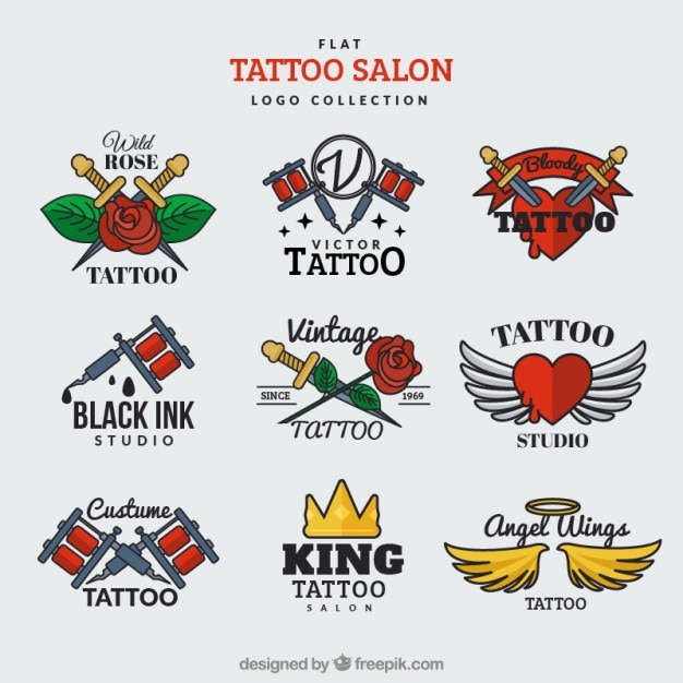 Flat logo collection for a tattoo salon Free Vector