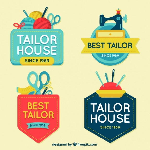 Flat logos for crafts Free Vector