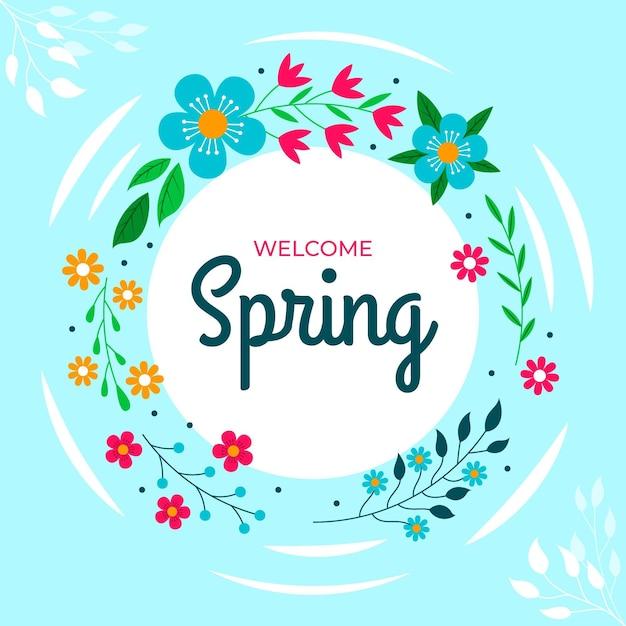 Cornice floreale piatta bella primavera Vettore gratuito