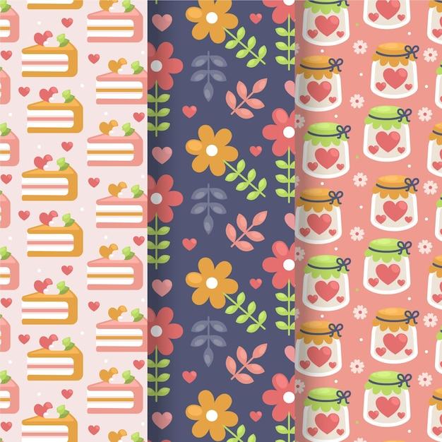편평한 사랑스러운 발렌타인 패턴 컬렉션 무료 벡터