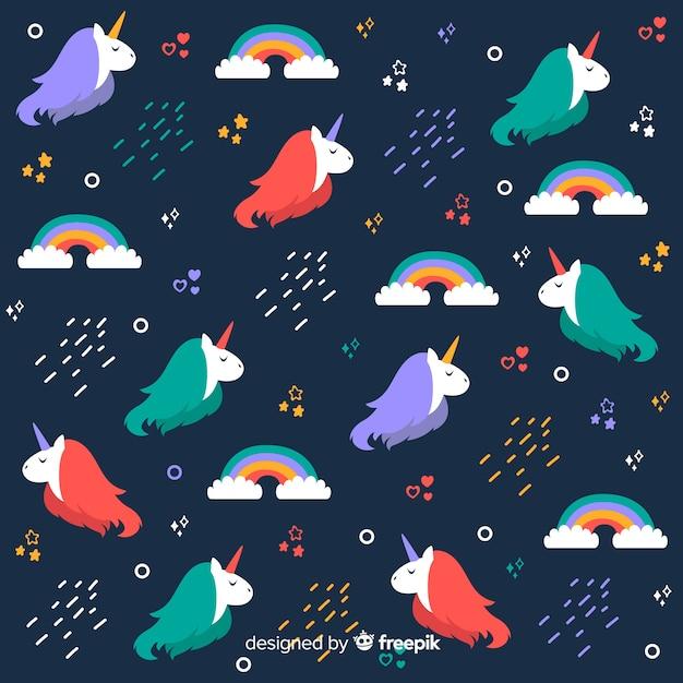 Flat magical unicorn fantasy pattern Free Vector