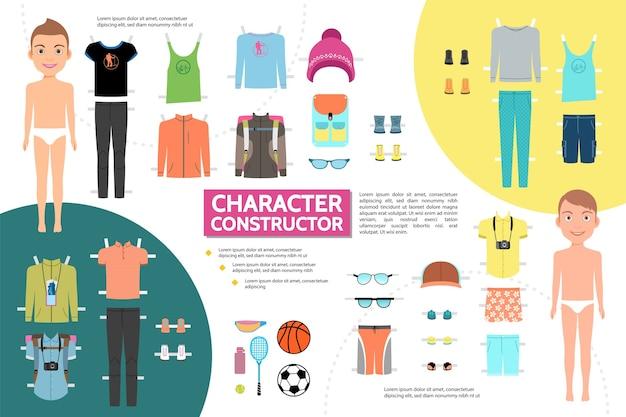 スポーツ服スニーカーサングラスキャップとフラット男性アスリートキャラクターインフォグラフィックコンセプト 無料ベクター