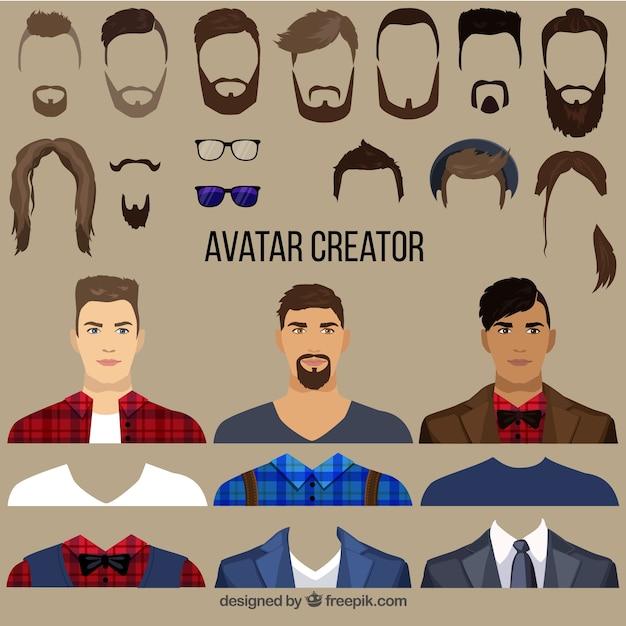 Flat Male Avatar Creator Free Vector