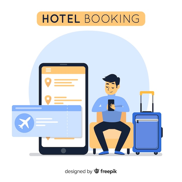 Flat man hotel booking background Free Vector