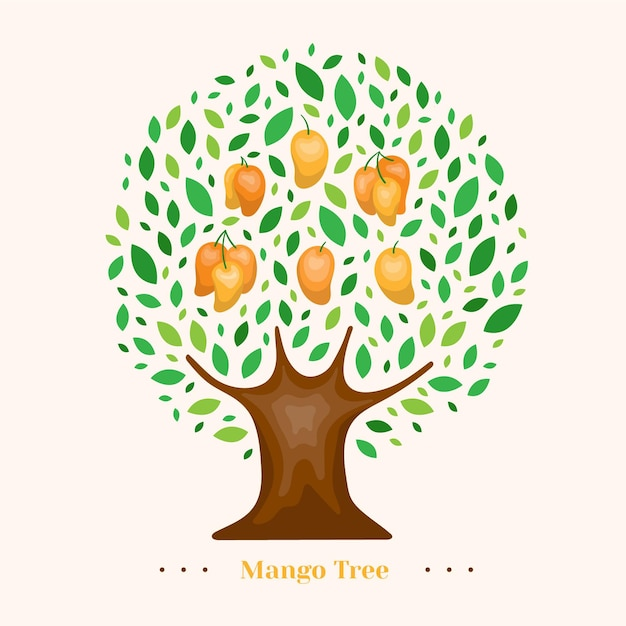 Flat mango tree illustration Free Vector