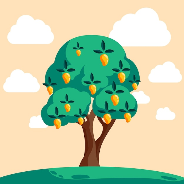 Flat mango tree with fruits and green leaves Free Vector