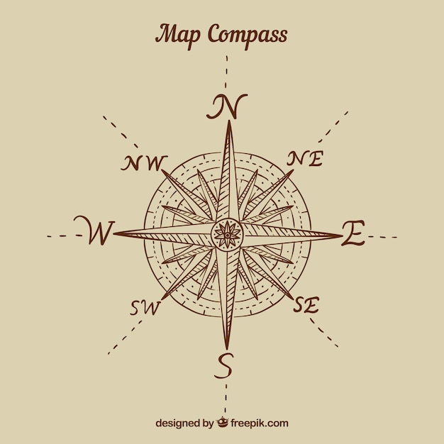 Flat map compass background Free Vector