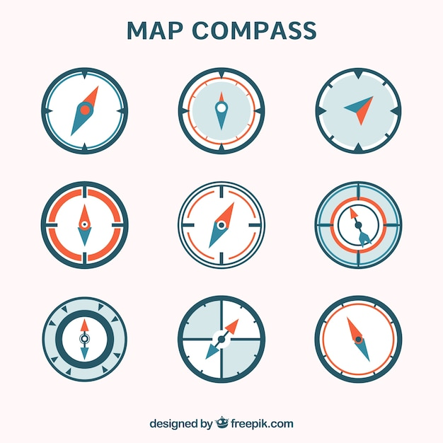 Flat map compass collection Free Vector
