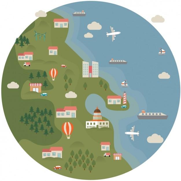 Flat map design vector free download for Map designer free