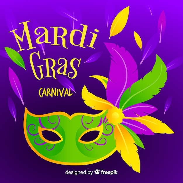 Flat mardi gras background Free Vector