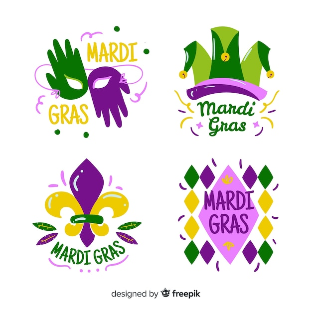 Flat mardi gras badge collection Free Vector