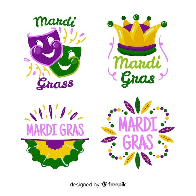 Flat mardi gras badge collection Free Vector