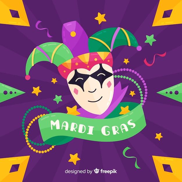 Flat mardi gras carnival background Free Vector