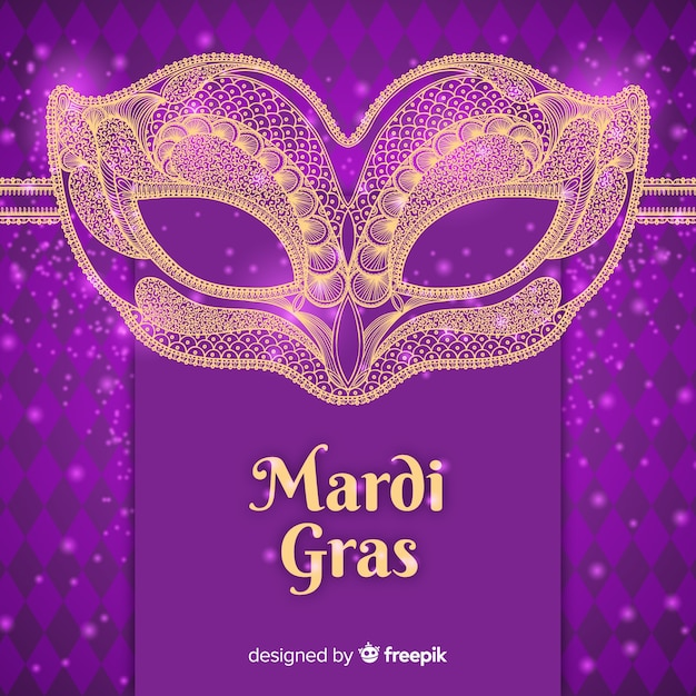 Flat mardi gras carnival background Free Vector