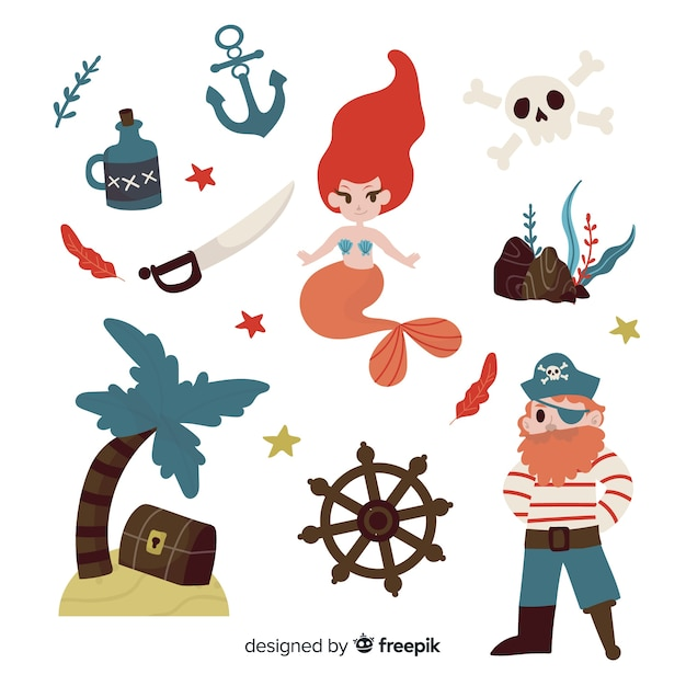 Flat marine elements collection Free Vector