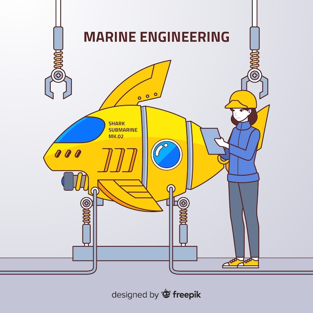 Flat marine engineering background Free Vector