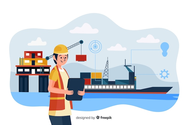 Flat marine engineering concept background Free Vector