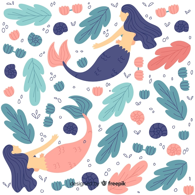 Flat marine pattern with mermaids Free Vector