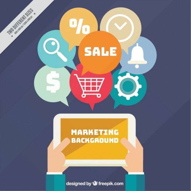 Flat Marketing Background With Tablet And
