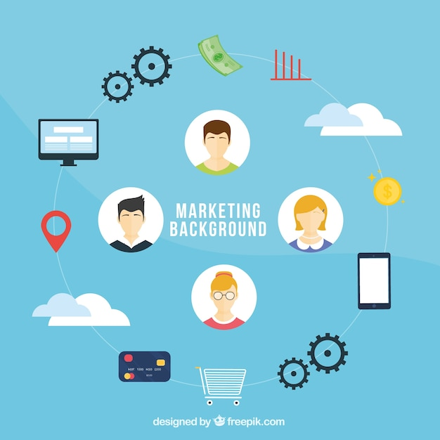 Flat marketing background Free Vector