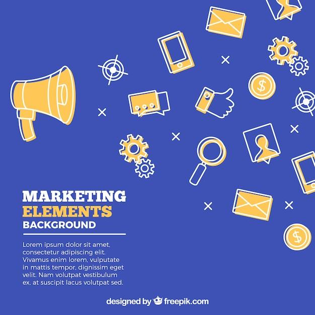 Flat marketing elements background Free Vector