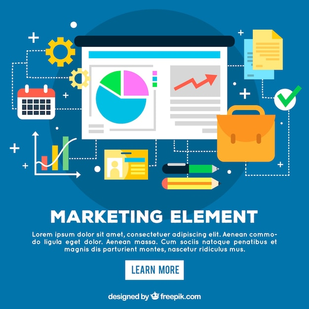 Flat marketing elements background Free Vector