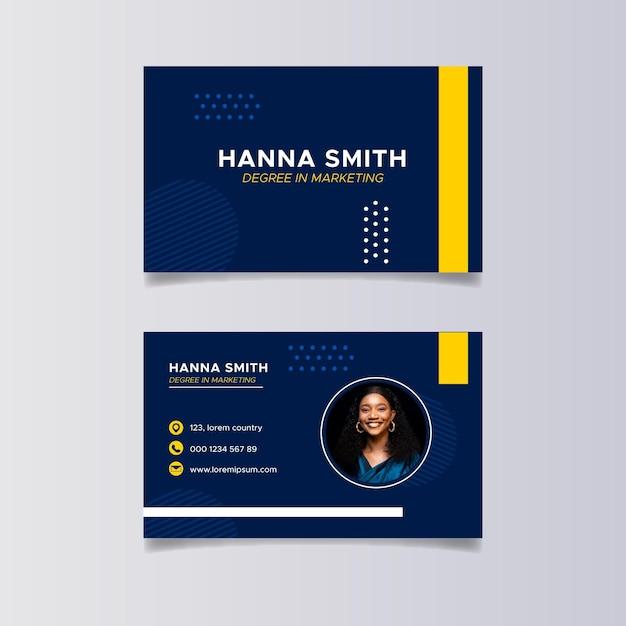 Flat marketing horizontal business cards Premium Vector