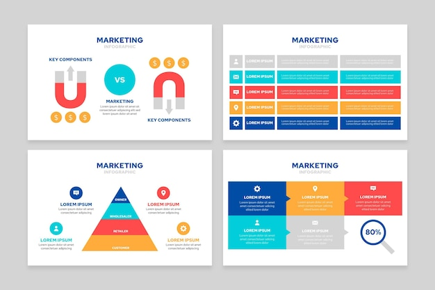 Flat marketing infographics concept Free Vector